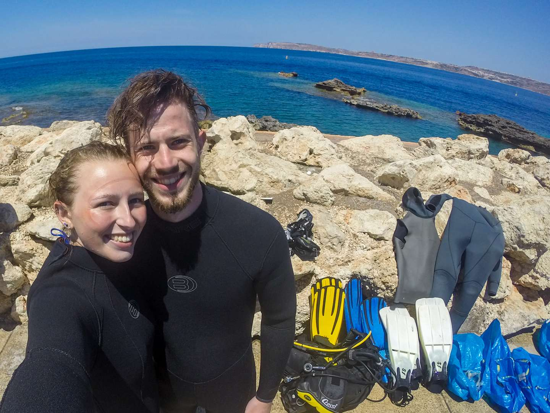 First Time Scuba Diving at Cirkewwa, Malta